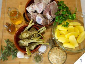 Agnello al forno con patate e carciofi Calabria nel Piatto
