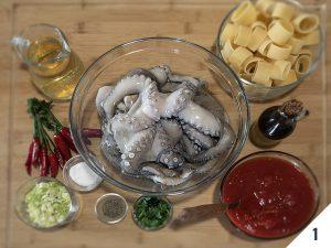ingredienti calamarata con sugo di polpo