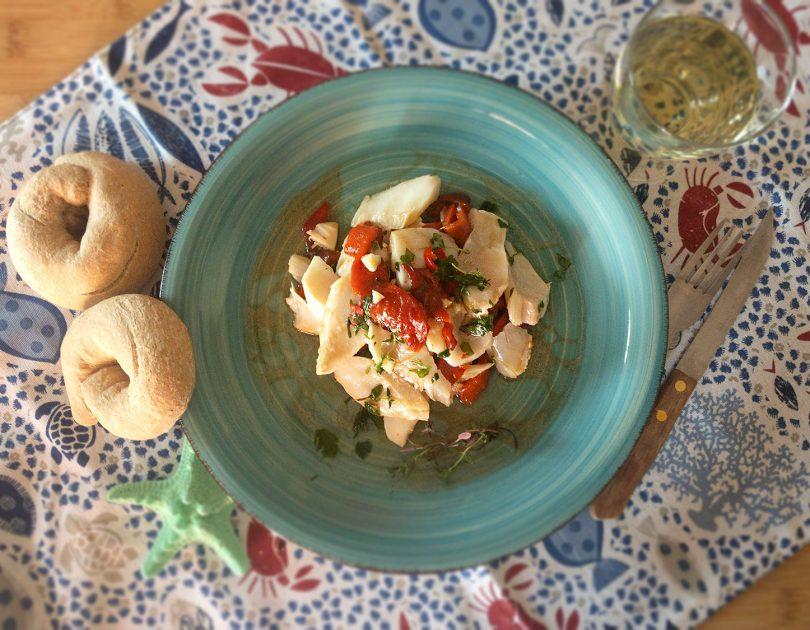 Insalata di stoccafisso e peperoni arrostiti
